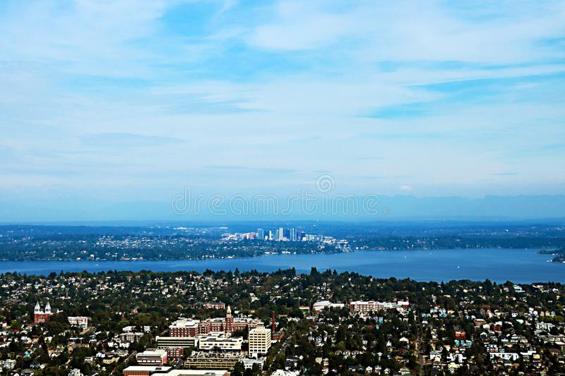 Seattle, USA, August 30, 2018:Aerial view of Seattle city. Seattle, USA, August 30 2018Aerial view of Seattle city royalty free stock image