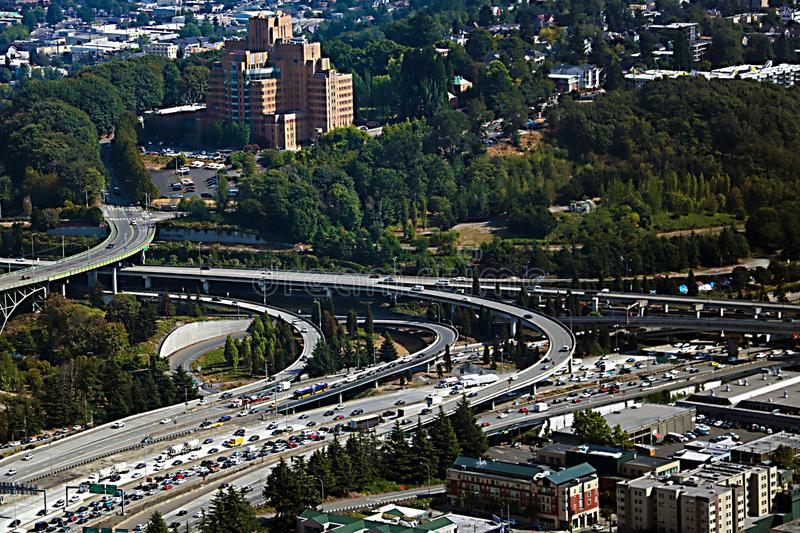 Seattle, USA, August 30, 2018: Aerial view of multi-level road. Seattle, USA, August 30, 2018 Aerial view of multi-level road stock photos