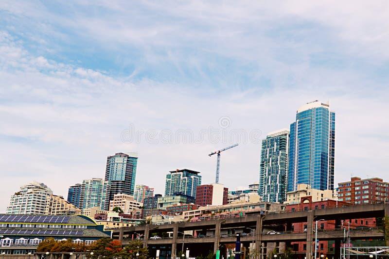 Seattle, USA, am 30. August 2018: Ansicht der Wolkenkratzer in Seattle lizenzfreie stockbilder