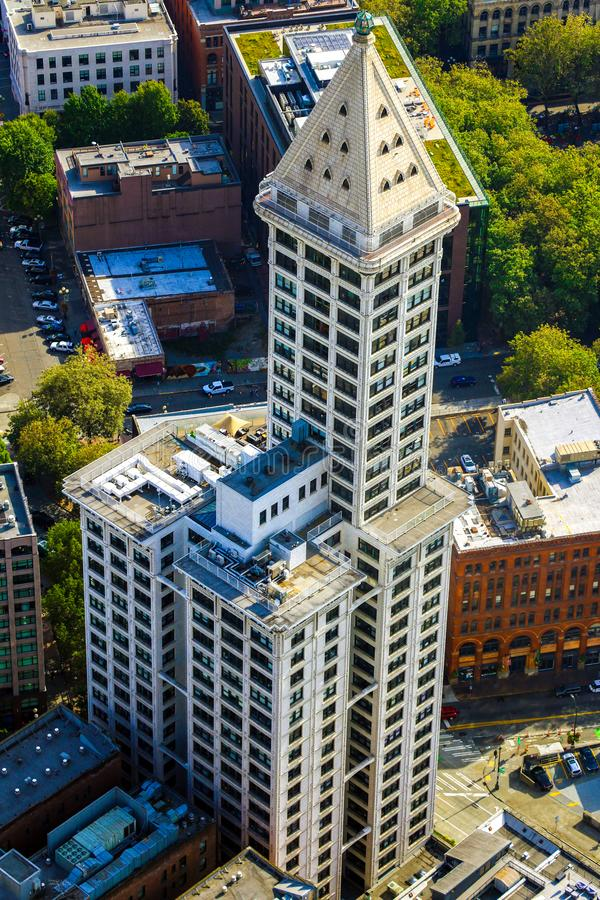 Seattle, USA, August 31, 2018: Big beautiful view of Smith Tower building. Seattle, USA, August 31, 2018 Big beautiful view of Smith Tower building royalty free stock images