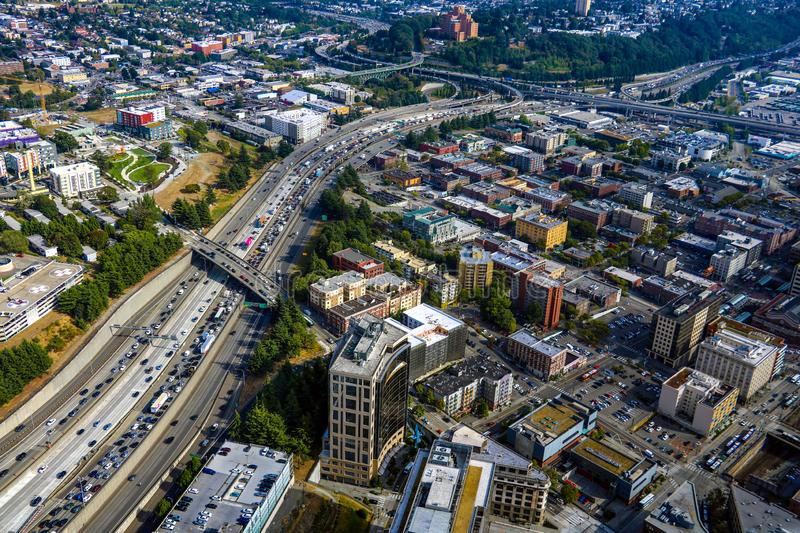 Seattle, USA, August 31, 2018: Seattle Cityscape Aerial Panoramic View. Seattle, USA, August 31 2018 Seattle Cityscape Aerial Panoramic View stock photos