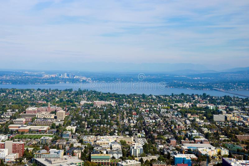 Seattle, USA, August 31, 2018: Seattle cityscape panoramic aerial view stock image