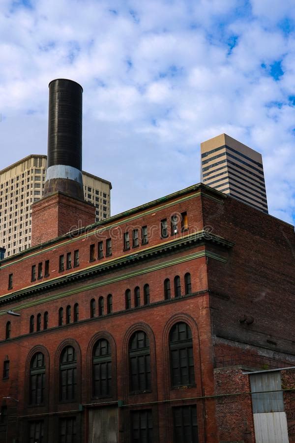 Seattle, USA, August 31, 2018: Smokestack at Pioneer Square Steam. Seattle, USA, August 31 2018 Smokestack at Pioneer Square Steam stock images