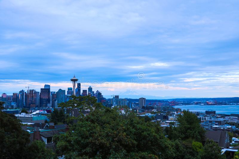 Seattle, USA, August 31, 2018: space needle with seattle downtown. Seattle, USA, August 31 2018 space needle with seattle downtown royalty free stock photo