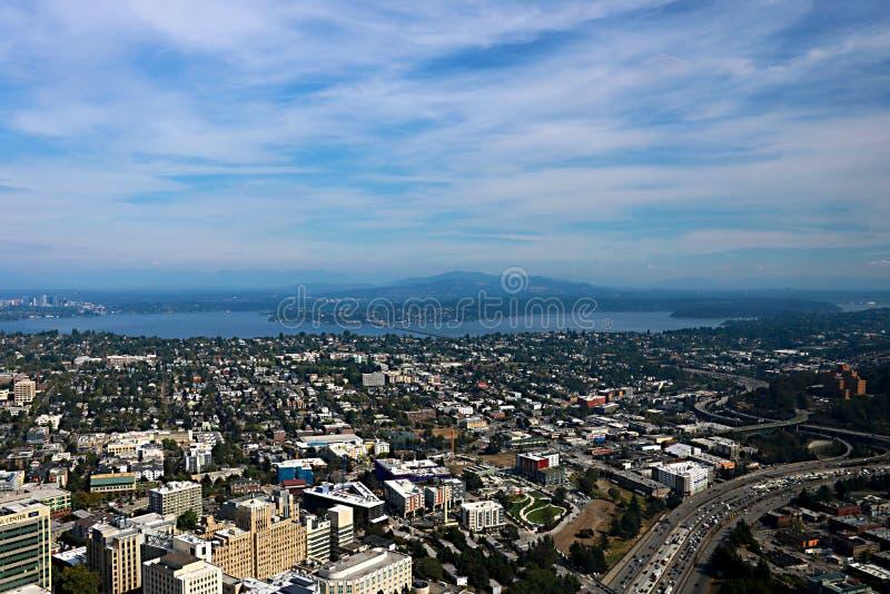 Seattle, USA, am 30. August 2018: Vogelperspektive von Seattle-Stadt stockbild
