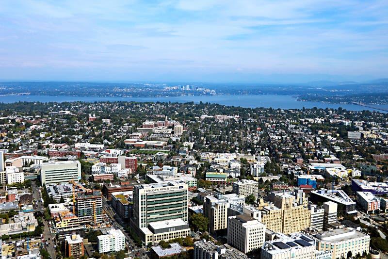 Seattle, USA, am 30. August 2018: Vogelperspektive von Seattle-Stadt stockbilder