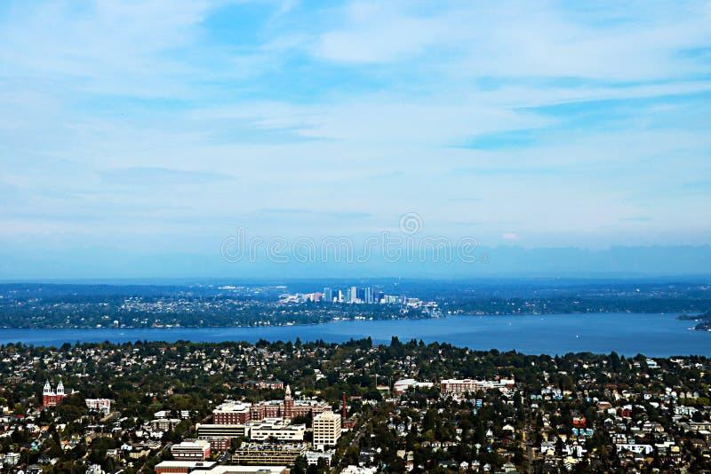 Seattle, USA, am 30. August 2018: Vogelperspektive von Seattle-Stadt lizenzfreies stockbild