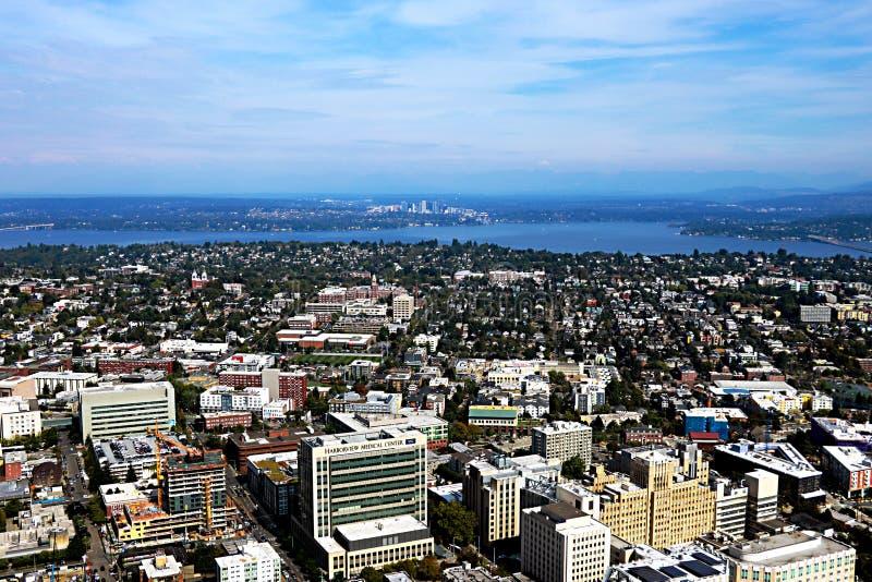 Seattle, USA, am 30. August 2018: Vogelperspektive von Seattle-Stadt stockfoto