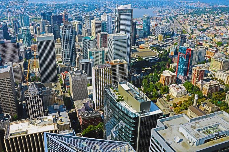 Seattle USA, Augusti 31, 2018: Panorama- bild av staden av Seattle royaltyfri fotografi