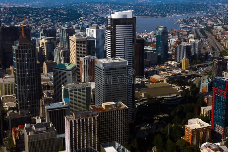 Seattle USA, Augusti 31, 2018: Sikt av i stadens centrum Seattle horisont i Seattle Washington royaltyfri foto