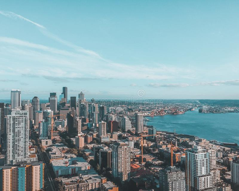 Seattle van hierboven royalty-vrije stock foto's