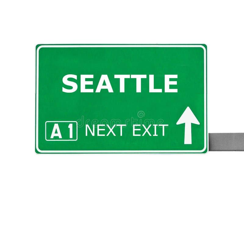 SEATTLE-Verkehrsschild lokalisiert auf Weiß stockbilder