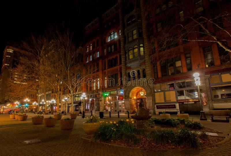 SEATTLE, WA - 23 mars 2011 Place pionnière downtown photos libres de droits