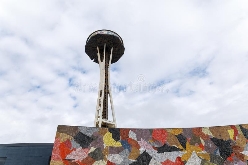 Seattle Space Needle Under Remodeling Construction stock photo