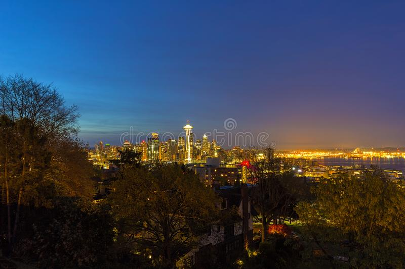 Seattle Skyline and Puget Sound Blue Hour in Washington state. Seattle Washington city skyline by Puget Sound Harbor and port during early dawn blue hour USA royalty free stock image