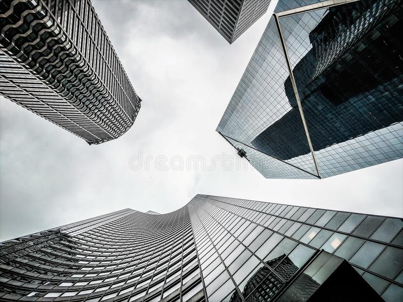 SEATTLE WASHINGTON CITYSCAPE SKYLINE ON PARTLY CLOUDY DAY royalty free stock photography