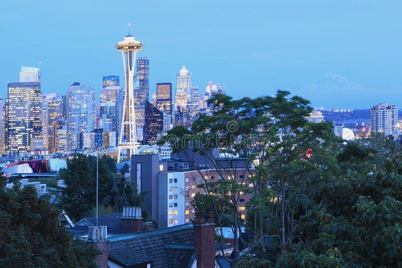 Seattle, Washington cityscape at twilight royalty free stock image