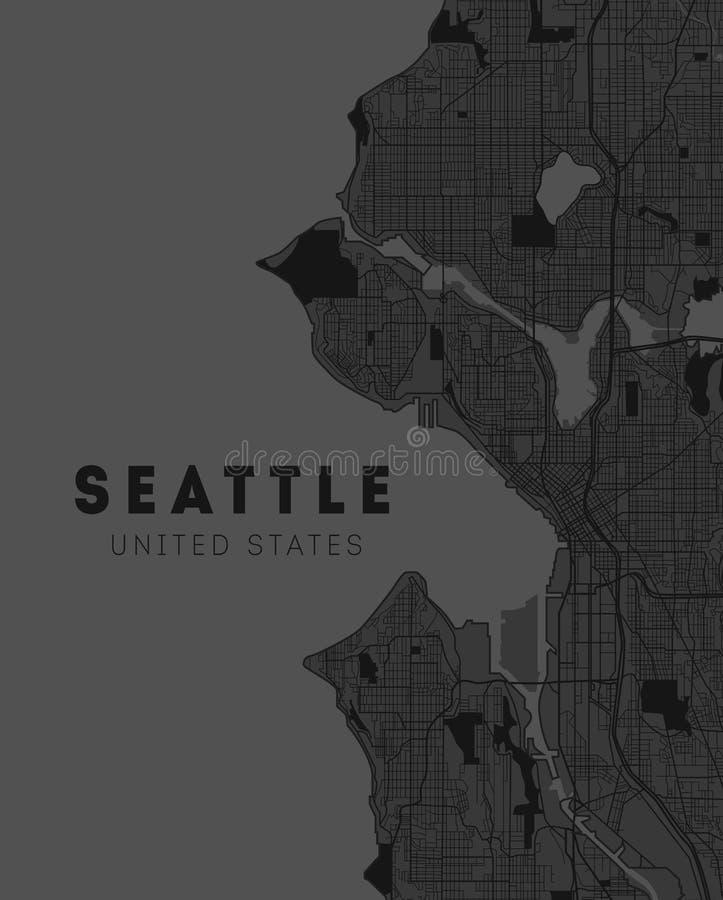 Seattle, Washington. Downtown-Vektorkarte. Ortsname auf einer separaten Ebene. Kunstdruckvorlage. Grau vektor abbildung
