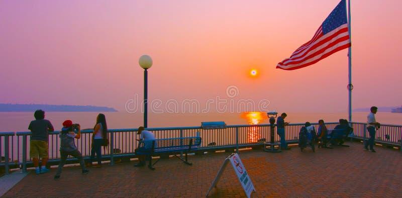 Seattle, Washington, Estados Unidos usa janvier, 10, 2019, Paisagem de Seattle no novo dia do pôr do sol, Washington, EUA , imagem de stock royalty free