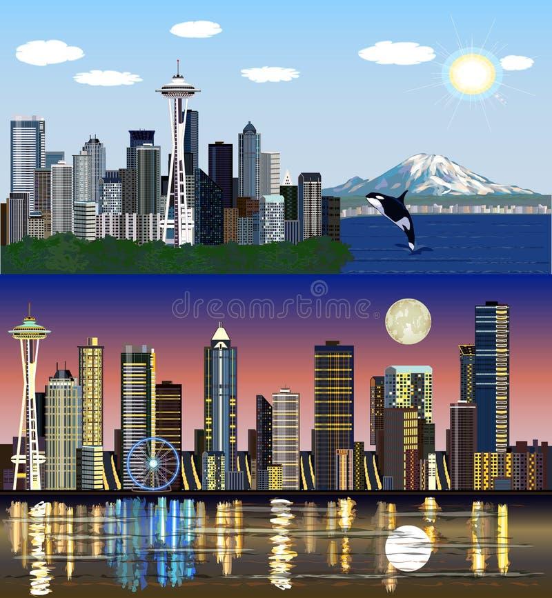 Seattle, Washington, EUA - dia ao jogo do vetor da noite ilustração stock