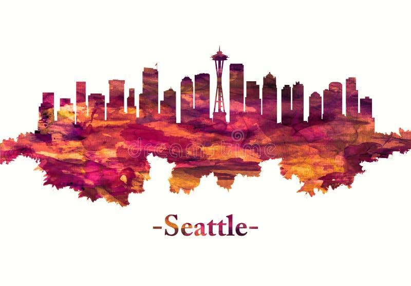 Seattle Washington horisont i rött vektor illustrationer