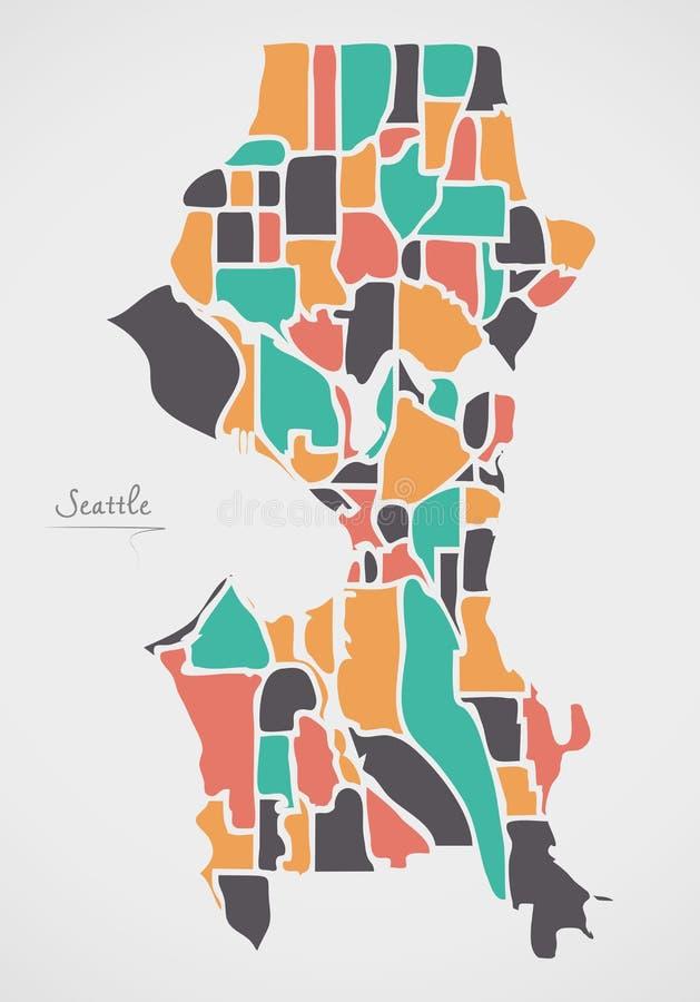 Seattle Washington Map with neighborhoods and modern round shape. S illustration royalty free illustration