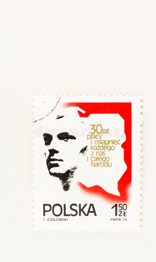 Stamp Commemorating People`s Republic of Poland royalty free stock images