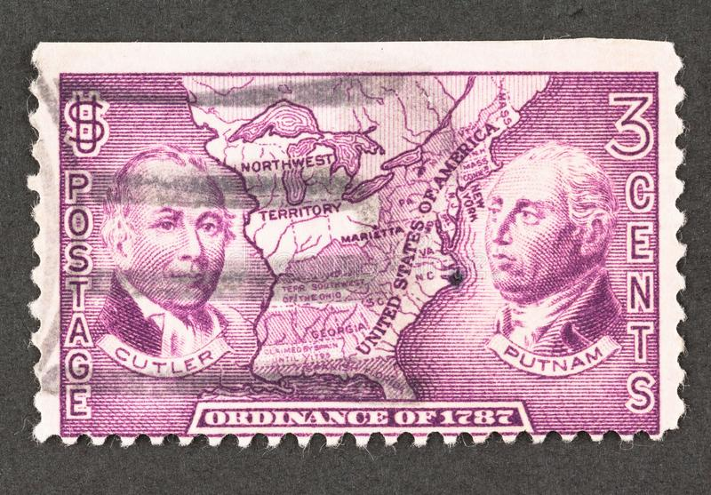 3 Cent Postage Stamp Commemorating the US Ordinance of 1787 stock image