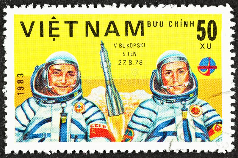 Cosmonauts of Russian Space Program 1978. SEATTLE, WASHINGTON - September 25, 2019: Close up ofstamp  featuring cosmonauts Soviet V. Bukopski  and East German S stock photos
