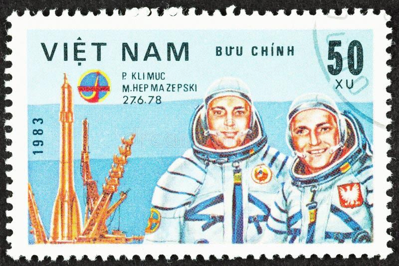 Cosmonauts of Russian Space Program. SEATTLE, WASHINGTON - September 25, 2019: Close up of stamp  featuring cosmonauts P. Klimuc  and Polish M. Hepmazepski stock photo