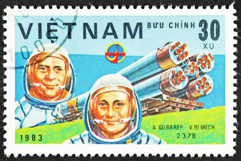 Cosmonauts of Russian Space Program 1978. SEATTLE, WASHINGTON - September 25, 2019: Close up of stamp  featuring cosmonauts  Soviet A Gubarev and Czechoslovakian royalty free stock photo
