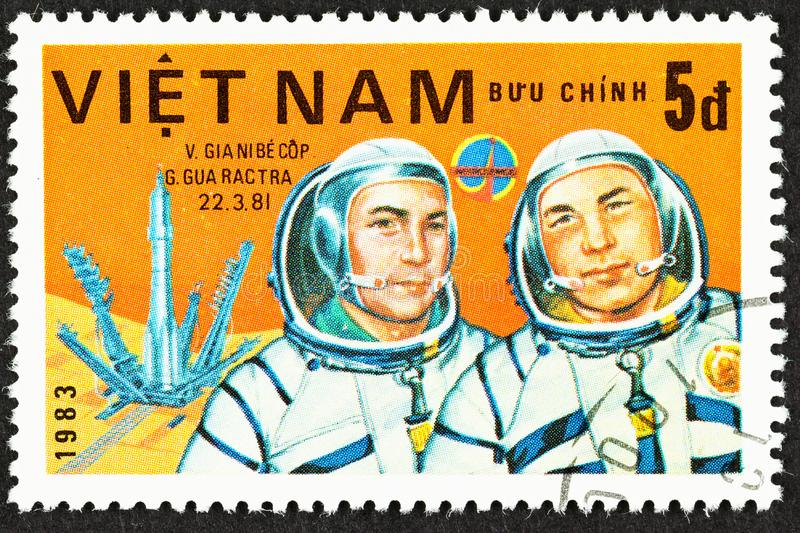 Cosmonauts of Russian Space Program 1981. SEATTLE, WASHINGTON - September 25, 2019: Close up of stamp  featuring cosmonauts  Soviet V Dzhanibekov  and Mongolian royalty free stock photography