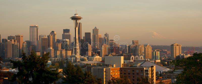 Seattle Washington Skyline Panoramic Urban Sunset Mountain Mt Ra royalty free stock photography