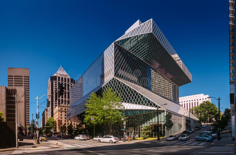 Seattle, Washington, USA - August 5, 2017: Public Library in Seattle. The Central Library was designed by Rem Koolhaas and Joshua Prince-Ramus and was opened stock photos