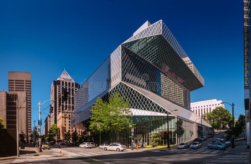 Seattle Washington, USA - Augusti 5, 2017: Offentligt bibliotek i Seattle arkivfoton