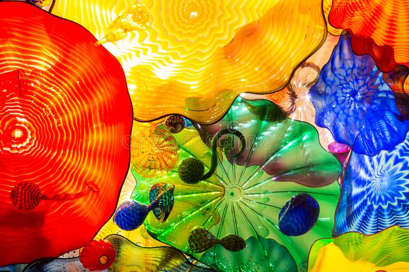 Seattle, Washington, USA - 10.02.2018: Chihuly Garden and glass exhibition. Floral selling details. Floral selling details in Chihuly Garden and glass exhibition stock photography