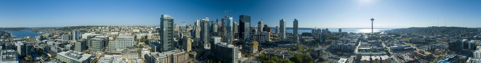 Seattle, Washington USA Downtown Skyline 360 View. Seattle, Washington USA Downtown Skyline - Panoramic Landscape Sunny Summer Day - 360 View stock photos