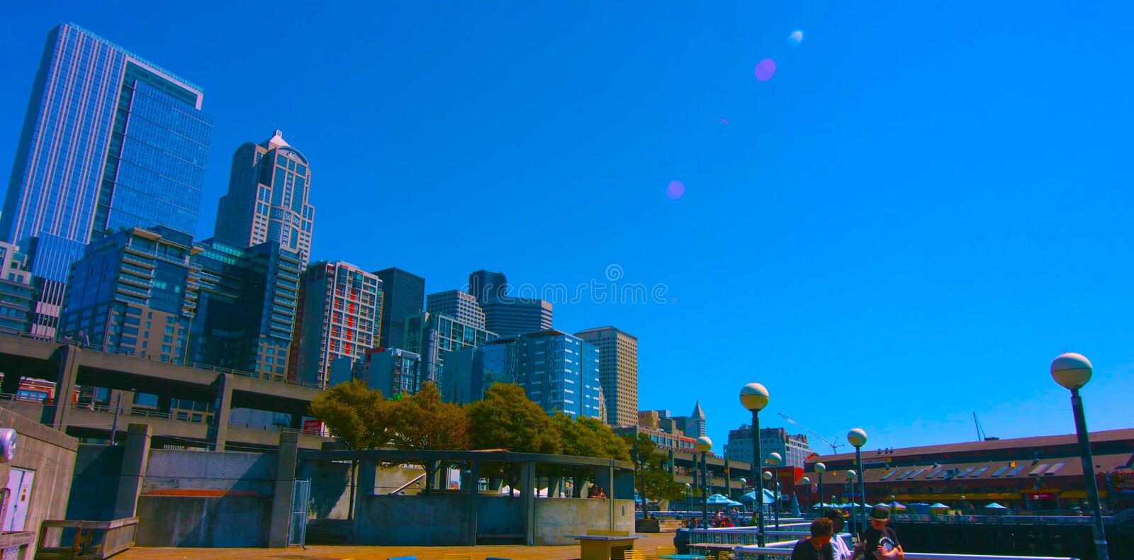 Seattle, Washington, USA mai 6, 2019 Downtown Seattle, a mixture of commercial and increasing residential real estate, public royalty free stock image