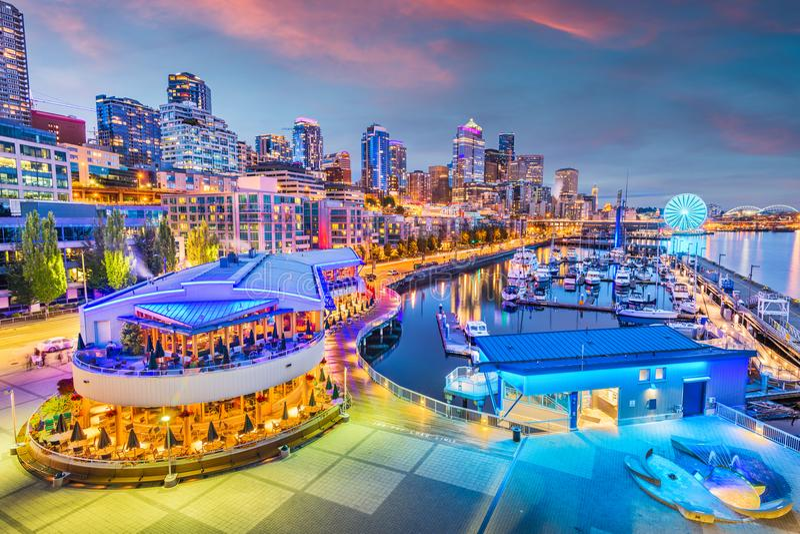 Seattle, Washington, USA Pier and Skyline stock image