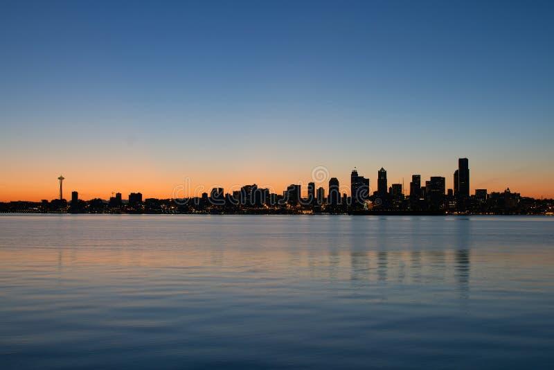 Seattle Washington Waterfront Skyline Sunrise. Seattle Washington Waterfront Skyline along Puget Sound at Sunrise Panorama stock photos