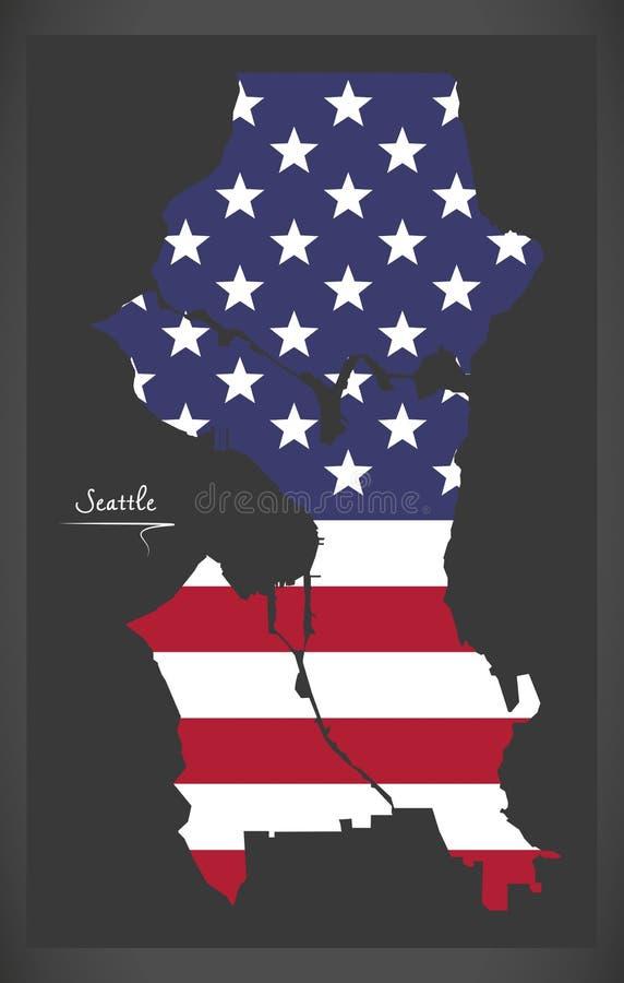 Seattle Waszyngtońska mapa z Amerykańską flaga państowowa ilustracją ilustracji