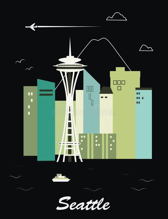 Seattle Waszyngton. ilustracja wektor