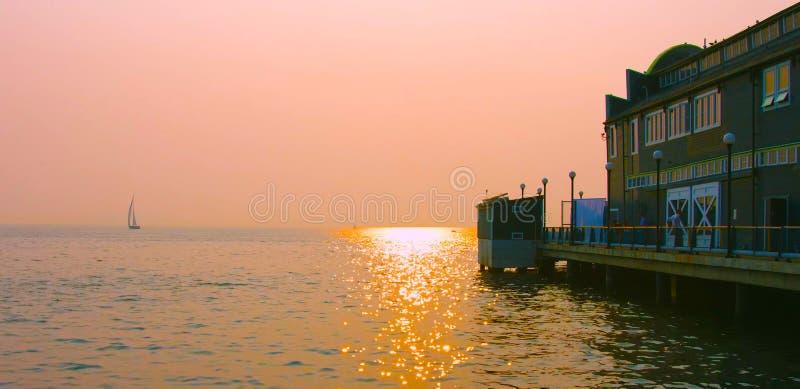 Seattle, Waszyngton, USA usa janvier, 10, 2019 Piękny zachód słońca , atrakcje turystyczne 2019 obraz royalty free