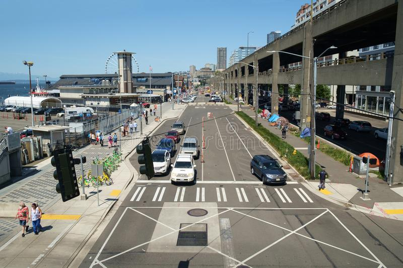 Seattle waterfront and Alaskan Way Viaduct royalty free stock image