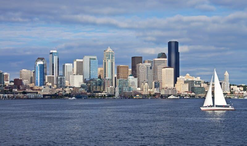 Seattle z żaglówką fotografia royalty free