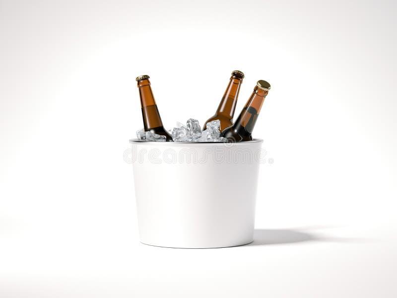 Seau à glace vide avec des bouteilles à bière rendu 3d illustration de vecteur