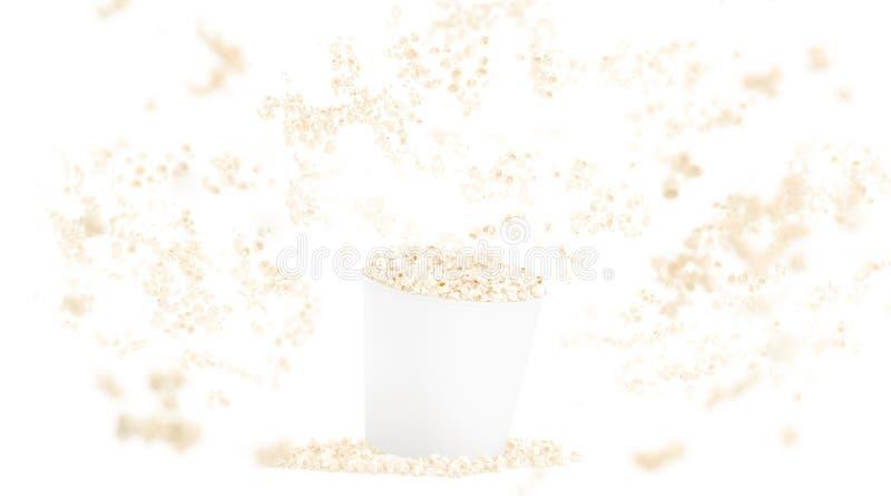 Seau blanc vide de nourriture avec la maquette de maïs éclaté d'isolement sur le fond illustration de vecteur