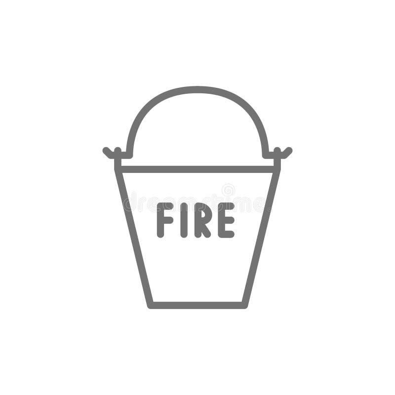 Seau de lutte contre l'incendie, ligne icône d'équipement du feu illustration libre de droits