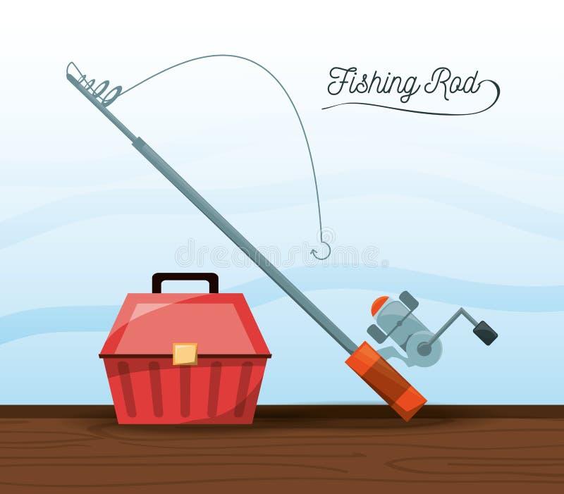 Seau et tige d'équipement de pêche illustration stock