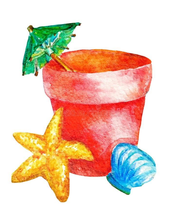 Seau rouge de jouet pour enfants d'aquarelle avec un parapluie de cocktail et un coquillage, étoile de mer sur un fond blanc d'is image stock